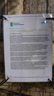 Mitteilung des Bezirksamtes zum Gesellschaftshaus in Grünau