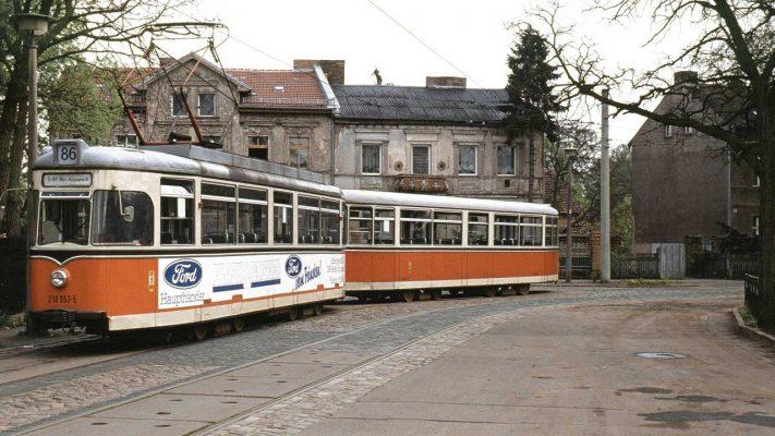 Uferbahn Gothawagen: TDE/BDE 61 an der Endhaltestelle Schmöckwitz, 1991