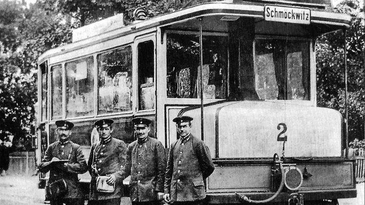 Uferbahn historische Ansicht: Benzoltriebwagen 2 der Schmöckwitz-Grünauer Uferbahn
