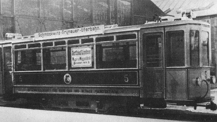 Uferbahn historische Ansicht: Triebwagen 5 vor der Auslieferung in Ammendorf, 1913